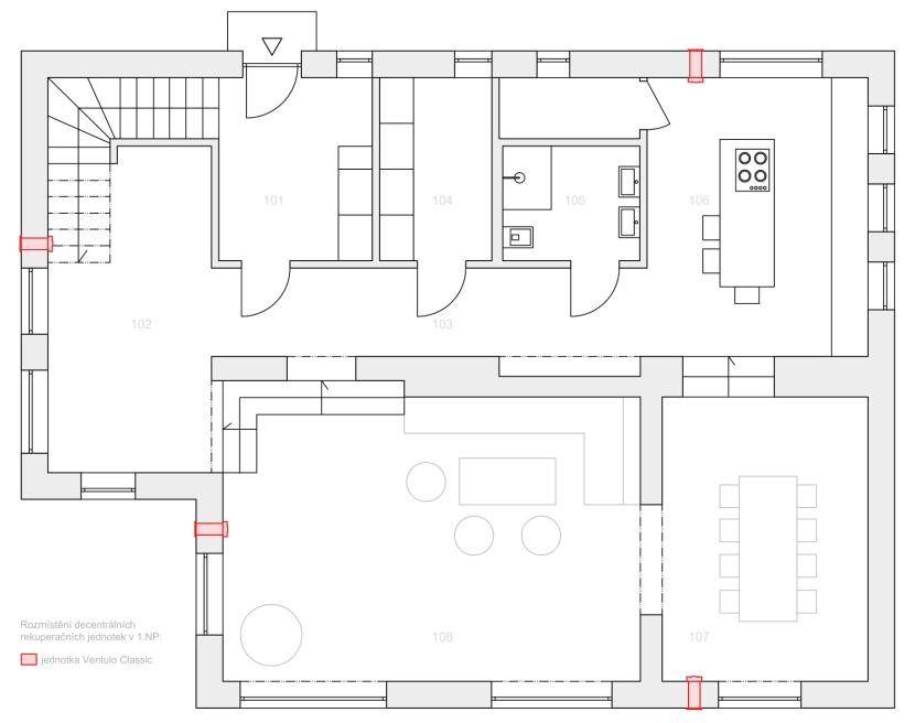 příklad projektu s umístěním jednotek Ventulo v rekonstruovaném domě